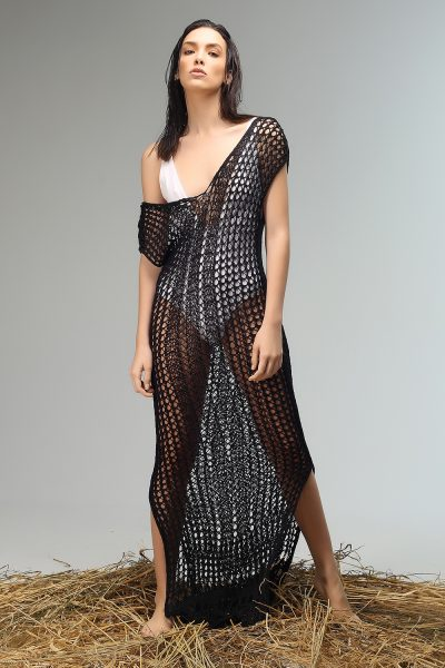 sesy shirtsleeve long dress knitted by Nima liminal ss21