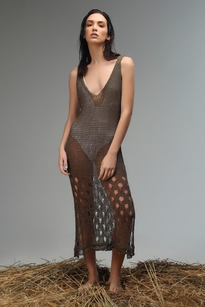 raby dress knitted olive green Nima liminal ss21 collection