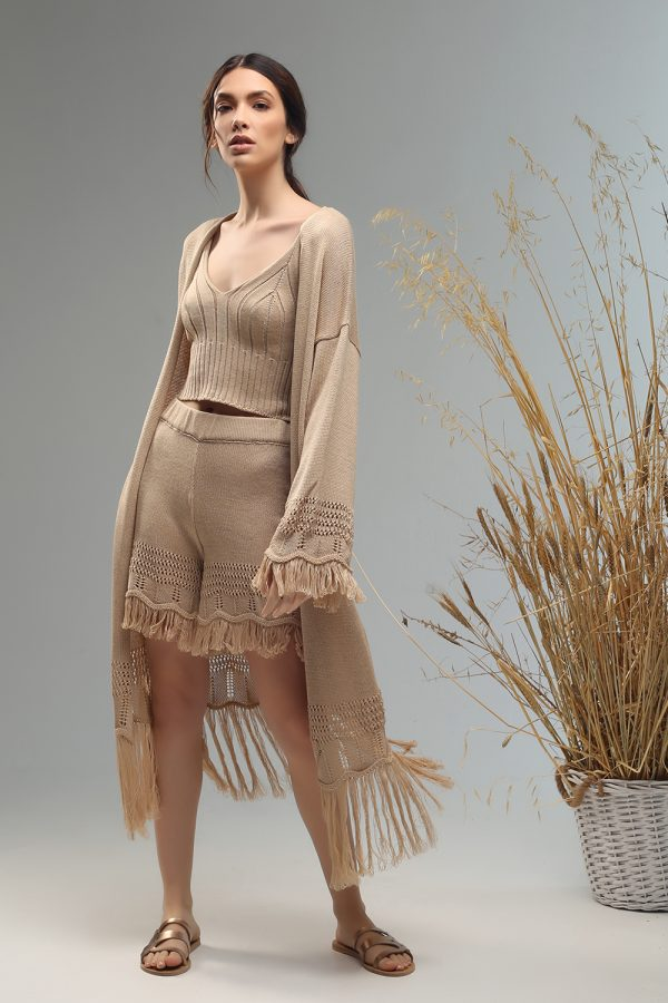 tassie boho cardigan knitted with fringes Nima liminal ss21 collection