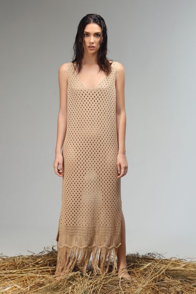 holy long sleeveless dress knitted from Nima liminal ss 21 collection