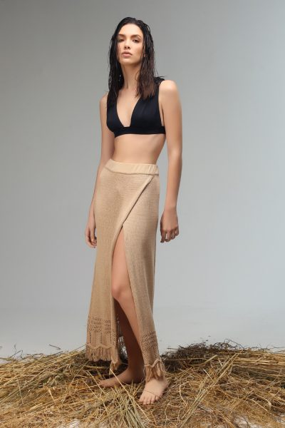tassie cut out skirt midi knitted by Nima liminal ss21 collection