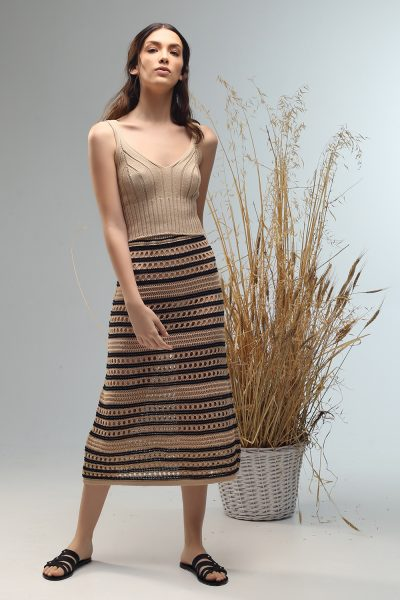 fuly tube skirt knitted by Nima liminal ss21 collection