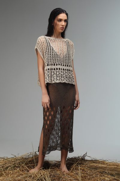 top knitted shortsleeve Nima liminal ss21 collection